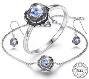 925 Silver Jewelry Sets 0.2ct Natural Tanzanite Stone