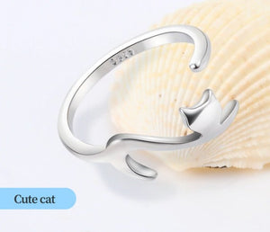 Fashion Cute Romantic Silver Sticky Cat Rings