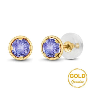0.60 Ct Round Blue Natural Tanzanite Earrings