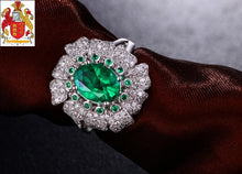 Load image into Gallery viewer, Unplated 18K/Au750 1.15ct Emerald & 0.6ct Diamonds & 0.08ct Small Round Emerald Engagement Ring
