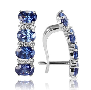 Wedding 925 Sterling Silver Tanzanite Earrings