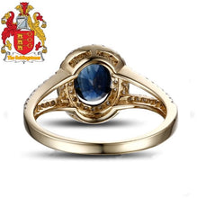 Load image into Gallery viewer, 14k Yellow Gold 1.02ct Deep Dark Blue Sapphire Diamond Engagement Ring
