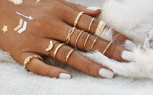 Load image into Gallery viewer, 12 pcs/set Handmade Charm Gold Color Midi Finger Ring Set