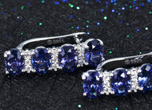 Load image into Gallery viewer, Wedding 925 Sterling Silver Tanzanite Earrings