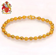 Load image into Gallery viewer, 24K Pure 999 Gold Genuine Stardust Texture and Plain Balls Bracelet