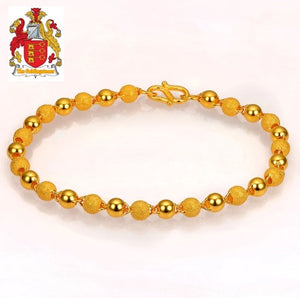 24K Pure 999 Gold Genuine Stardust Texture and Plain Balls Bracelet