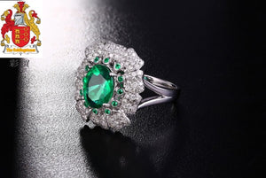 Unplated 18K/Au750 1.15ct Emerald & 0.6ct Diamonds & 0.08ct Small Round Emerald Engagement Ring