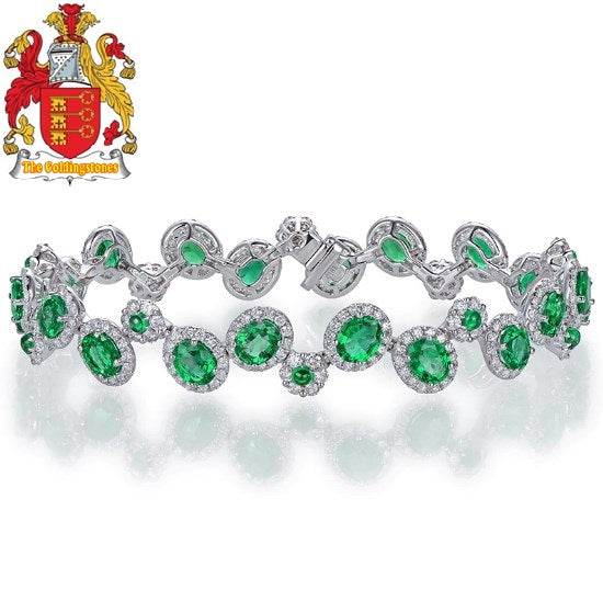 6.35ctw Natural Emeralds Bracelet H SI Full Cut Diamond 18kt Gold Gemstone