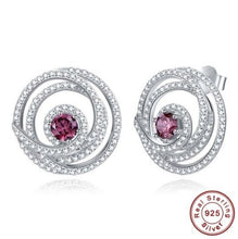 Load image into Gallery viewer, Tanzanite & Garnet White Topaz Delicate Earrings