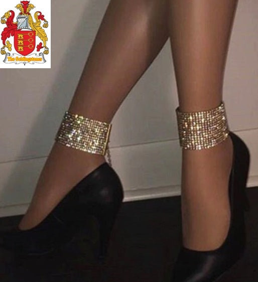 AOMU New 14 Rows Crystal Wide Anklets