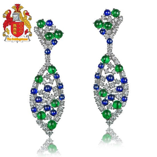 Natural 9.28ctw Cabochon Round Sapphires Emeralds and Diamonds Earrings 18kt Gold, Retro English Lock