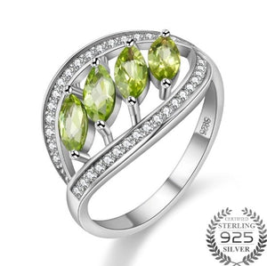 4pcs 1.5ct Green Peridot 925 Sterling Silver Leaves Rings