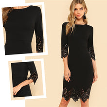 Load image into Gallery viewer, Elegant Black Pencil Dress Women