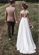 Load image into Gallery viewer, New Cap-Sleeves White/Ivory Wedding Dresses 2019
