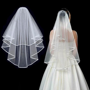 Simple Short Tulle Wedding Veils Two Layer With Comb