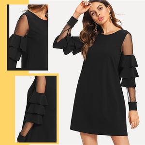 Ruffle Long Sleeve Black A Line Work Dresses Ladies