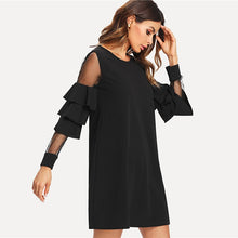 Load image into Gallery viewer, Ruffle Long Sleeve Black A Line Work Dresses Ladies