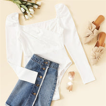 Load image into Gallery viewer, Solid Ruched Puff Sleeve Skinny White Bodysuit Women