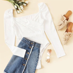 Solid Ruched Puff Sleeve Skinny White Bodysuit Women