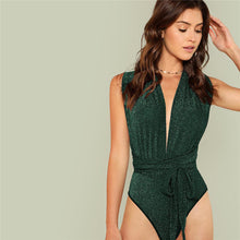 Load image into Gallery viewer, Green Deep V Neck Bodysuit