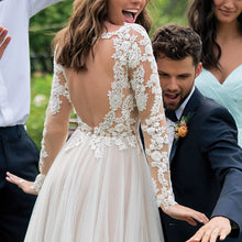 Load image into Gallery viewer, Long Sleeves Boho Wedding Dress 2019 Backless