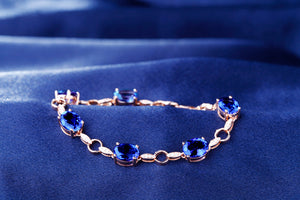 Natural 11.71ctw Oval AAA Blue Tanzanite Pave Diamond 14k Rose Gold Gem Bracelet