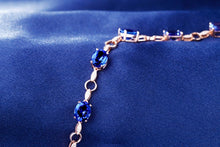 Load image into Gallery viewer, Natural 11.71ctw Oval AAA Blue Tanzanite Pave Diamond 14k Rose Gold Gem Bracelet