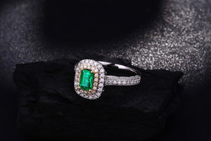 Antique 14ct Multi-Tone Gold 1.08ctw Natural Emerald H SI Diamond Milgrain Engagement Wedding Ring