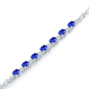 Luxury Design 5.8ct Natural Tanzanite  18Kt White Gold Diamond Wedding Bracelet