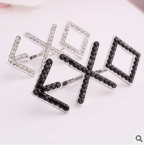2018 hot! Rhinestone Double Ring