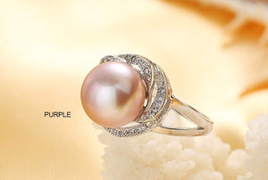BIG DISCOUNT Silver big white/pink/purple pearl ring