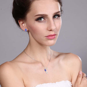925 Silver Tanzanite Pendant Earrings Set