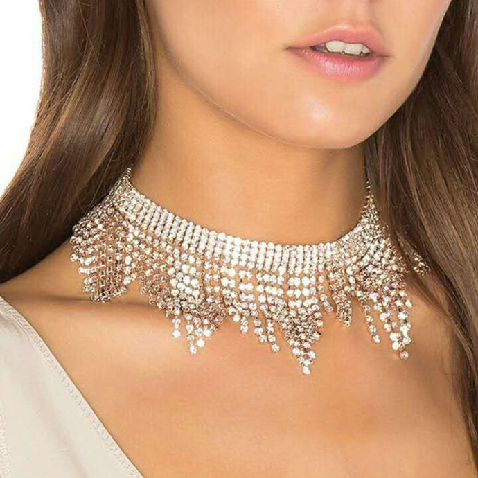 Fashion Rhinestones Tassel Collar Choker Necklaces Women Luxury