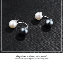 Load image into Gallery viewer, White Black Double Pearl Earring