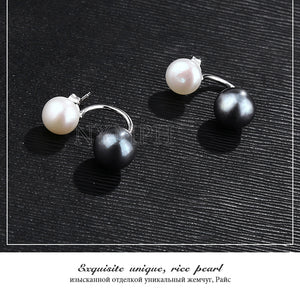 White Black Double Pearl Earring