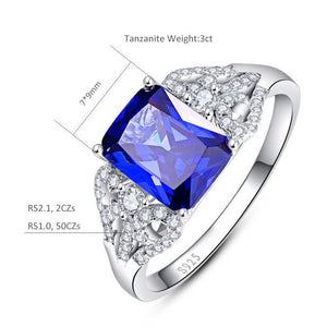 3 Carats Blue Tanzanite Emerald Stone Silver Ring