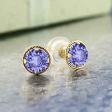 Load image into Gallery viewer, 0.60 Ct Round Blue Natural Tanzanite Earrings