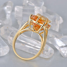 Load image into Gallery viewer, 14K Yellow Gold 10.19ct Natural Citrine 0.18ct Pave Diamond Engagement Ring