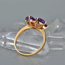 Load image into Gallery viewer, Lovely Style Heart Cut 3.0ct Amethyst 14kt Gold 0.015ct Natural Diamonds Ring