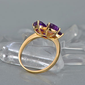 Lovely Style Heart Cut 3.0ct Amethyst 14kt Gold 0.015ct Natural Diamonds Ring