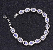 Load image into Gallery viewer, Natural tanzanite 925 sterling silver chain bracelet Unisex