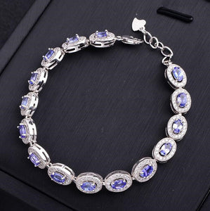 Natural tanzanite 925 sterling silver chain bracelet Unisex
