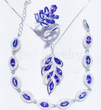Load image into Gallery viewer, Natural tanzanite set 925 silver T03