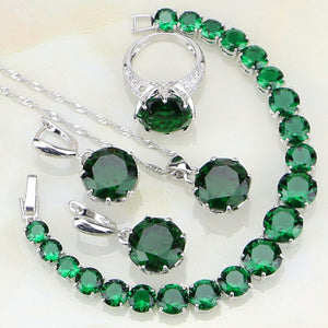 Green Birthstones White Zircon Jewelry Sets