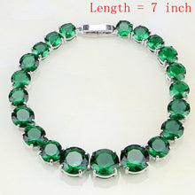 Load image into Gallery viewer, Green Birthstones White Zircon Jewelry Sets