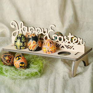 Wooden Easter Egg Rack Stand Rabbit Hen