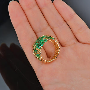14K Yellow Gold 5.55ct Natural Emerald Vintage Engagement Ring