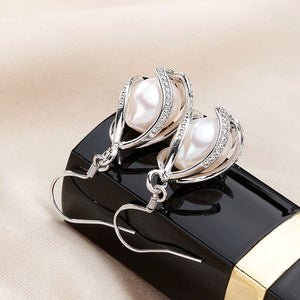 Natural Freshwater Pearl Drop Silver Earrings