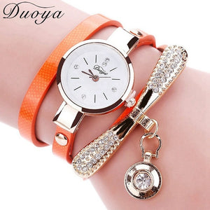 Duoya Brand Bracelet Watches For Women Luxury Gold Crystal