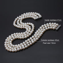 Load image into Gallery viewer, 3 rows natural pearl necklace